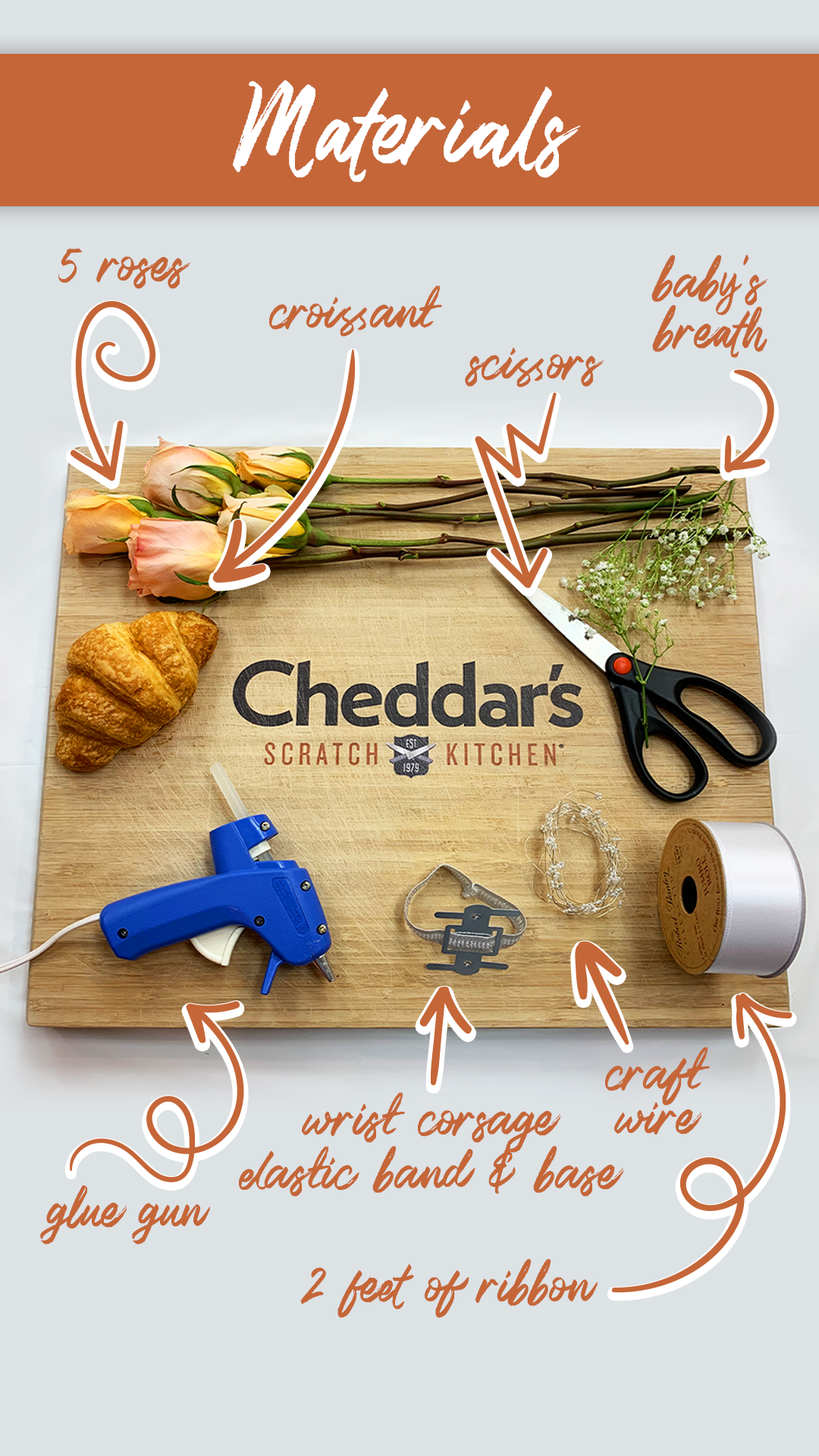 Get started with these materials to make a croissant corsage.